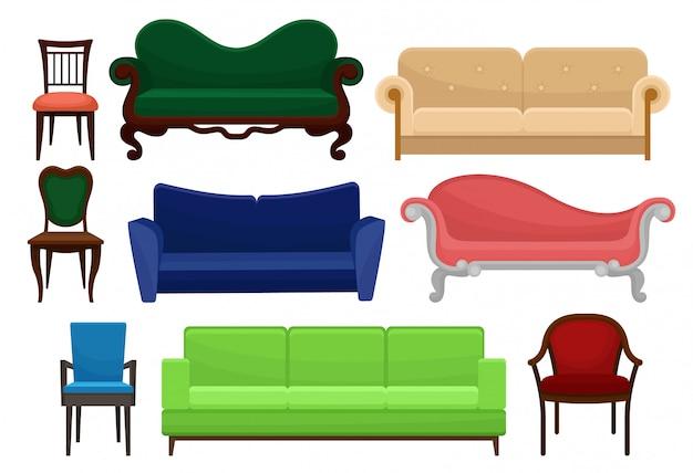 편안한 가구 세트, 빈티지 및 현대 의자와 소파, 흰색 배경에 인테리어 그림 요소의 컬렉션