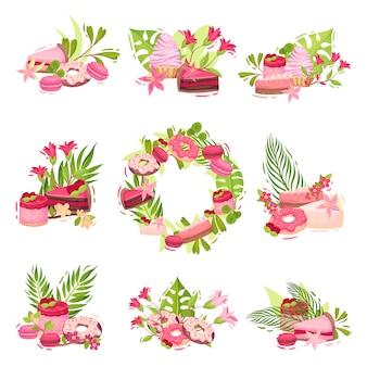 花とお菓子からの組成のコレクション。白い背景のイラスト。