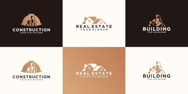 건설 로고 및 주택 건물 디자인 템플릿 모음
