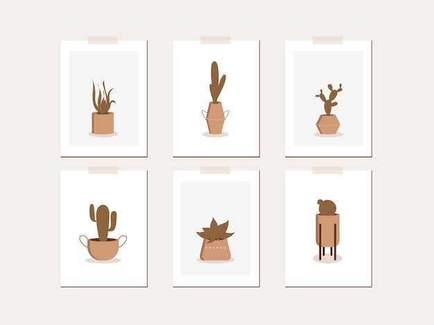 Коллекция современных абстрактных плакатов с цветами кактусов