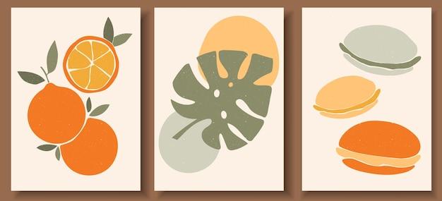 パステルカラーの現代アートポスターのコレクション。抽象的な幾何学的要素とストローク、葉と果物、マカロン、オレンジ。
