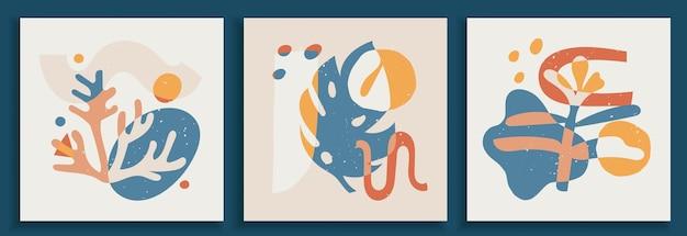 パステルカラーの現代アートポスターのコレクション。抽象的な紙は、幾何学的要素とストローク、葉とベリーをカットしました。ソーシャルメディア、ポストカード、印刷物に最適なデザイン。
