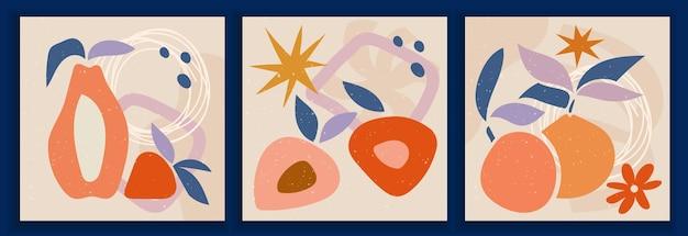 パステルカラーの現代アートポスターのコレクション。抽象的な紙は幾何学的な要素をカットし、果物、葉、ベリーでトレンディな落書き。ソーシャルメディア、ポストカード、印刷物に最適なデザイン。