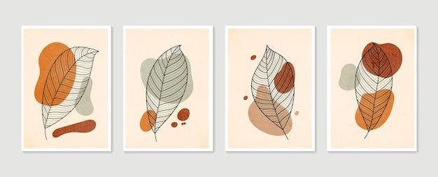 パステルカラーの現代アートポスターのコレクション。植物の壁アートベクトルセット。最小限の自然な壁の芸術。