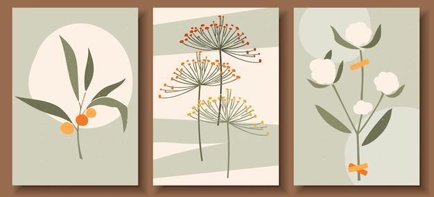 파스텔 색상의 현대 미술 포스터 컬렉션 프리미엄 벡터