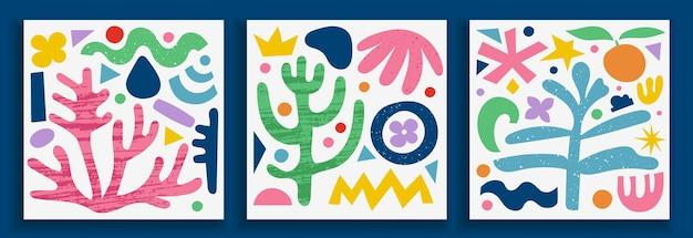 鮮やかな色の現代アートポスターのコレクション。抽象的なトレンディな幾何学的要素と有機および紙のカット形状、落書きオブジェクト。ソーシャルメディア、ポストカード、印刷物に最適なデザイン。
