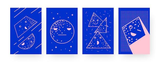 Коллекция постеров современного искусства с геометрическими фигурами. симпатичные ромб, круг, иллюстрации персонажей треугольника в творческом стиле. концепция геометрии для дизайна, социальных сетей,