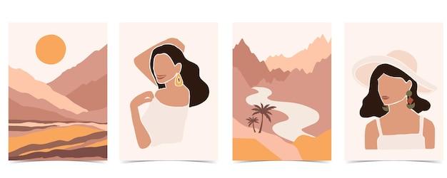 女性、山、太陽で設定された現代的な背景のコレクション。ウェブサイト、招待状、ポストカード、ポスターの編集可能なベクトルイラスト