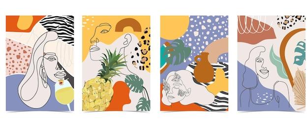 女性、形、虹で設定された現代的な背景のコレクション。ウェブサイト、招待状、ポストカード、ポスターの編集可能なベクトルイラスト