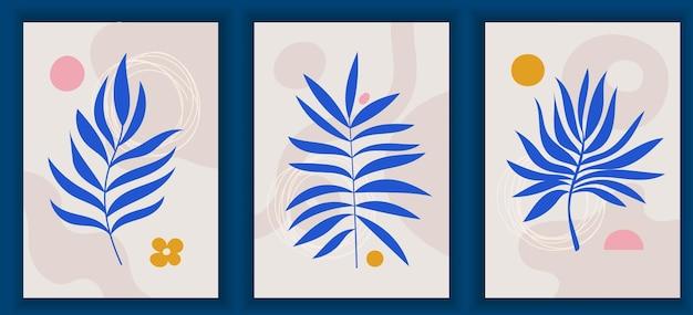 現代的なカラフルなポスターのコレクション。エレガントな木の葉。抽象芸術の幾何学的要素とストローク、葉。ソーシャルメディアの投稿、ストーリー、ポストカード、印刷物に最適なデザイン。