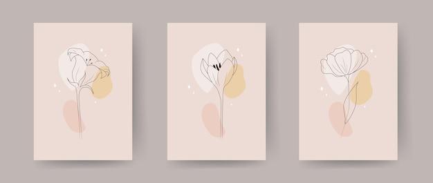현대 꽃 포스터의 컬렉션입니다. 손으로 그린 추상 식물 요소.