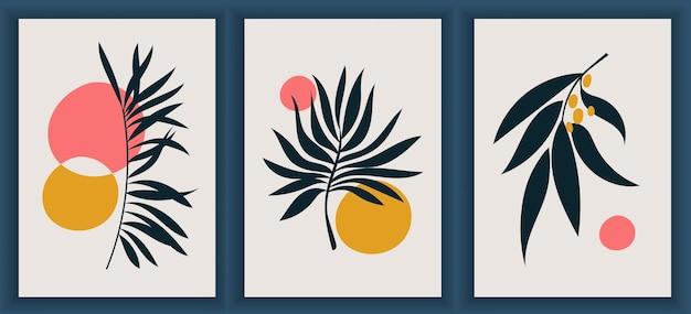 現代のモノクロアートポスターのコレクション。抽象的な幾何学的要素とストローク、葉とベリー。エレガントな黒と白のポスター。ソーシャルメディア、ポストカード、印刷物に最適なデザイン。