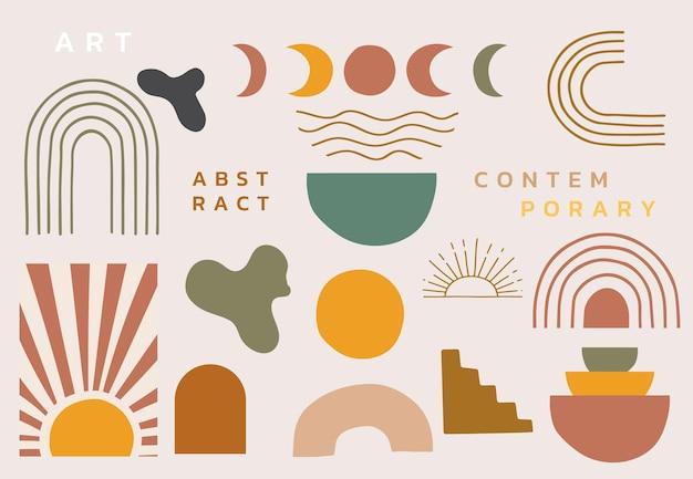 女性、形、虹で設定された現代的なオブジェクトのコレクション。ウェブサイト、招待状、ポストカード、ポスターの編集可能なベクトルイラスト