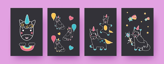 Коллекция современных постеров с очаровательными единорогами. воздушные шары, радуга, звезды, сердечки, иллюстрации. волшебная, сказочная концепция дизайна, социальные сети