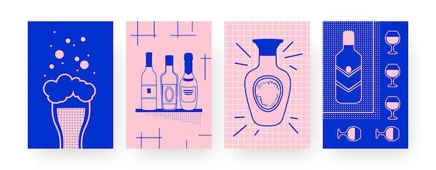ビールとワインを使った現代ポスターのコレクション。創造的なスタイルのビール、ボトル、ワイングラスのイラストのグラス。アルコール、デザインのバーのコンセプト、ソーシャルメディア