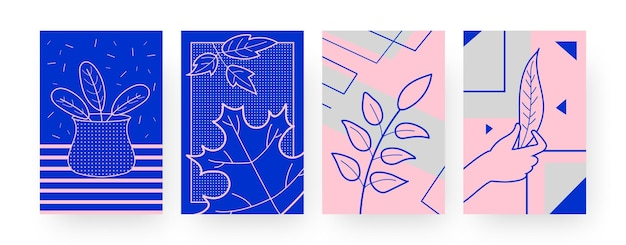 마른 잎이 있는 현대 포스터 모음입니다. 손을 잡고 있는 잎, 창의적인 스타일의 꽃병 삽화에 나뭇잎. 디자인, 소셜 미디어,