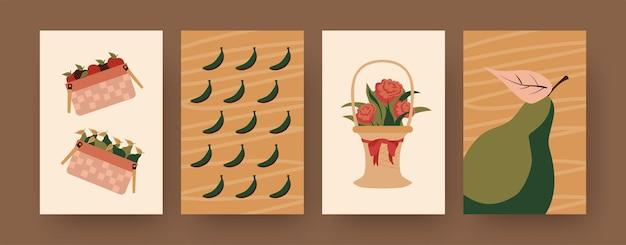Коллекция современных плакатов с корзинами еды и цветов. корзины яблок, груш, бананов иллюстрации. пикник, летняя концепция дизайна, социальные сети,