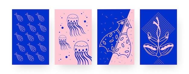 바다 생물 연과 현대 포스터의 컬렉션입니다. 물고기, 해파리, 오징어, 가오리 연 삽화가 창의적인 스타일로 그려져 있습니다. 야외 활동, 디자인을 위한 야생 동물 개념, 소셜 미디어