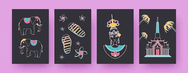 Коллекция современных плакатов с символикой таиланда. слоны, тайская танцовщица, храмовые иллюстрации,. таиланд, концепция культуры для дизайна, социальные сети