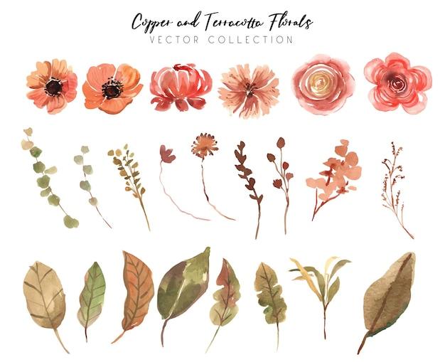 Коллекция медных и терракотовых цветов