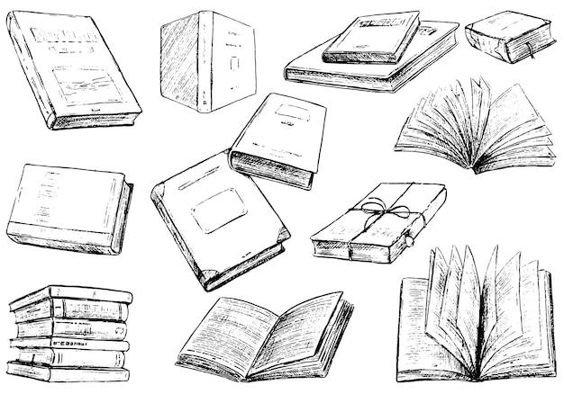 居心地の良いヴィンテージ本のコレクション。黒の輪郭図。手描きのベクトルイラストセット。白で隔離の要素をスケッチします。デザイン、プリント、ステッカー、カードのクリップアート。