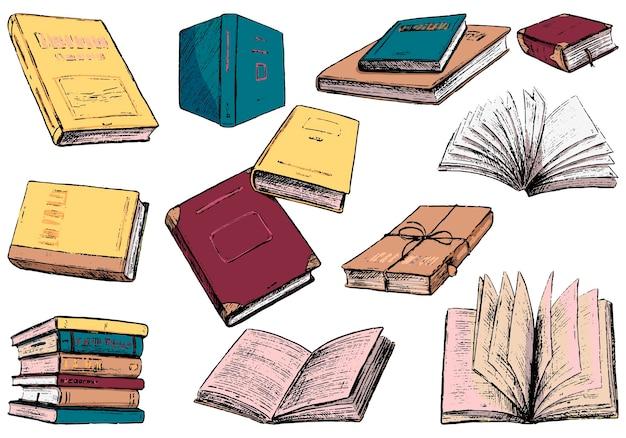 居心地の良いヴィンテージ本のコレクション。色付きの輪郭図。手描きのベクトルイラストセット。白で隔離の要素をスケッチします。デザイン、プリント、ステッカー、カードのクリップアート。