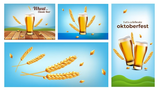 オクトーバーフェストのクラフトビールまたは小麦ビールのポスターのコレクション