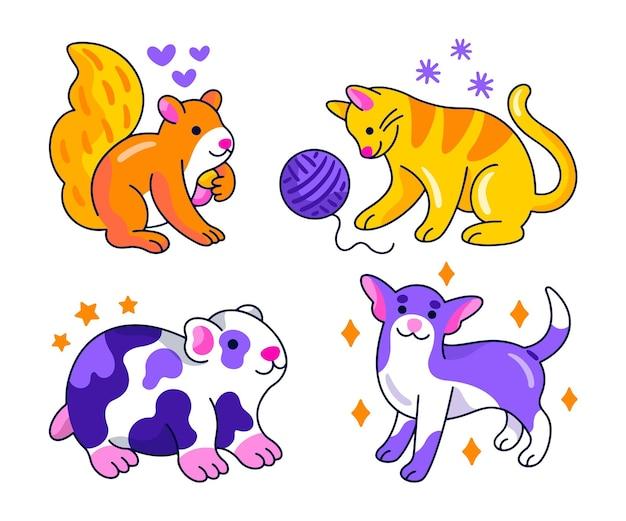 창의적인 동물 스티커 컬렉션