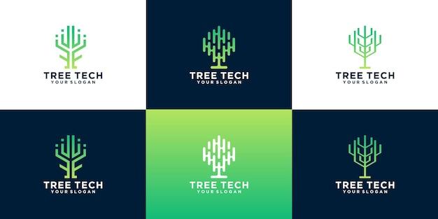 クリエイティブツリーテクノロジーのロゴデザインのアイデアのコレクション。テクノロジー、クラウド、データ、インターネットのクリエイティブシンボル