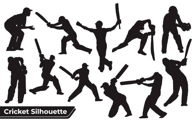 さまざまなポーズのクリケット選手のシルエットのコレクション