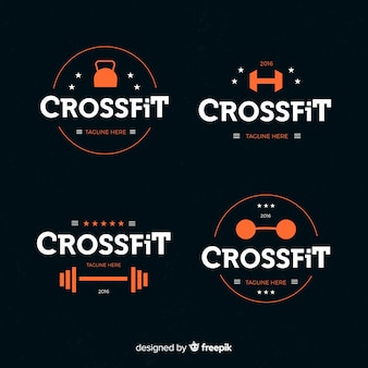 Коллекция crossfit логотипа плоский стиль