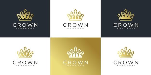 Коллекция логотипа короны с роскошным шаблоном дизайна логотипа в стиле штрих-арт premium vecto