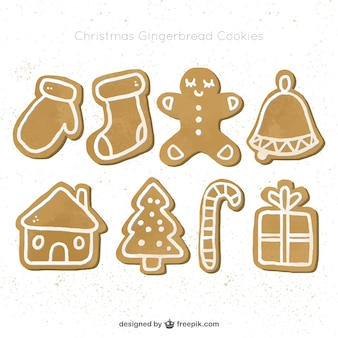 Collection of cute and delicious gingerbread cookies