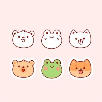 핑크에 고립 된 귀여운 동물의 컬렉션