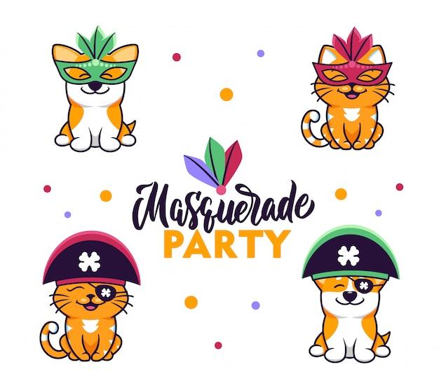 Коллекция милых животных, одетых в маскарадные костюмы для карнавальных вечеринок.
