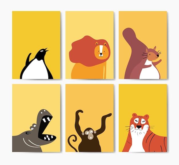 만화 스타일 벡터에 귀여운 동물의 컬렉션