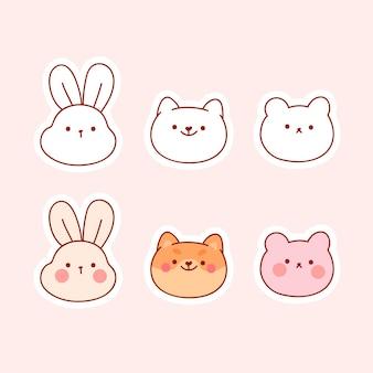 분홍색으로 분리된 스티커가 있는 귀여운 동물 컬렉션