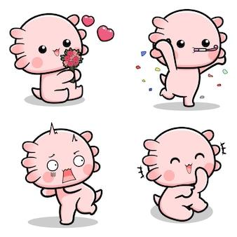 다양한 표정의 귀여운 axolotl 디자인 모음