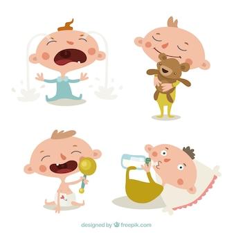 Коллекция мило младенцев в различных действиях
