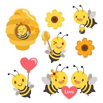 모든 액션 세트에서 귀여운 꿀벌의 컬렉션