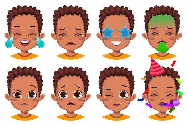 귀여운 소년 얼굴 표정 모음