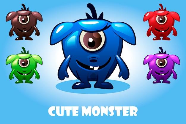귀여운 만화 아기 괴물, 화려하고 재미있는 박테리아 문자 모음
