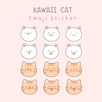 핑크에 고립 된 귀여운 고양이의 컬렉션