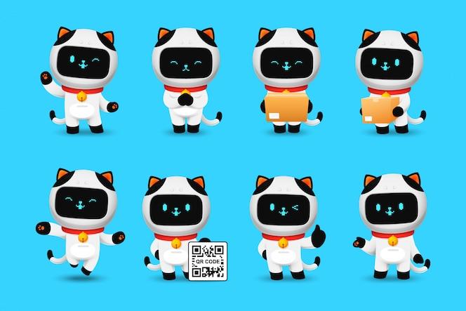 귀여운 고양이 로봇 캐릭터의 컬렉션