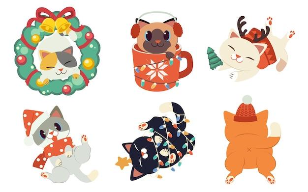 Коллекция милых кошек с темой рождественской вечеринки