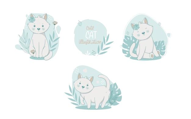 Коллекция милых кошек мультяшных животных. векторная иллюстрация.