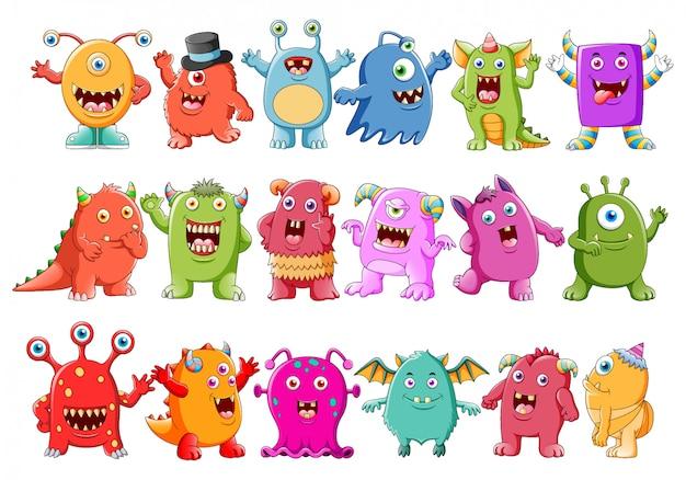 Коллекция симпатичных персонажей-монстров