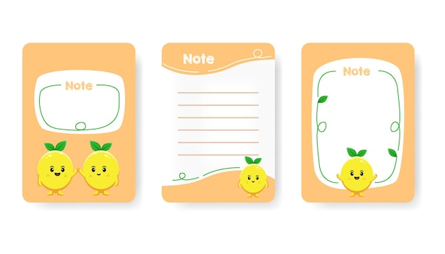 귀여운 유치한 약속 노트북 페이지 벡터 평면 그림의 컬렉션입니다. 귀여운 레몬 캐릭터가 있는 다채로운 할 일 목록, 알림 및 빈 페이지