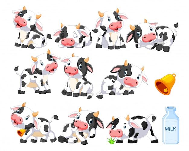 さまざまなポーズでかわいい牛のコレクション Premiumベクター