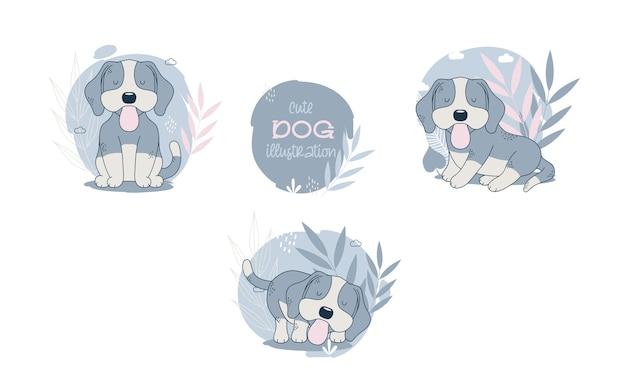 귀여운 강아지 만화 동물의 컬렉션입니다. 벡터 일러스트 레이 션.